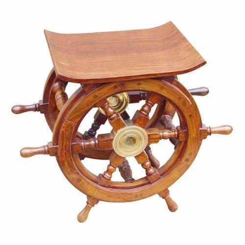magicaldeco Maritimer Hocker- Beistelltisch der besonderen Art- Holz und Messing