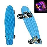 """WeSkate Mini Cruiser Skateboard Retro Komplettboard, 22"""" 55cm Vintage Skate Board mit Kunststoff Deck und blinkenden LED-rollen"""
