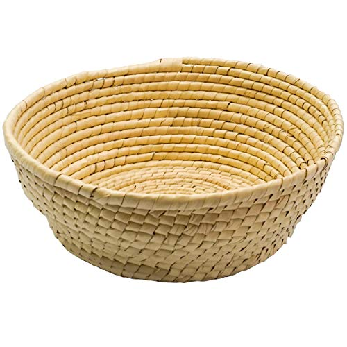 Handmade Natural Woven Bowl Basket - Round Straw Basket Bowl- Woven Fruit Basket - Bread Baskets for Serving - Round Storage Wicker Bowl - Seagrass Bowl - Small table basket - catchall bowl