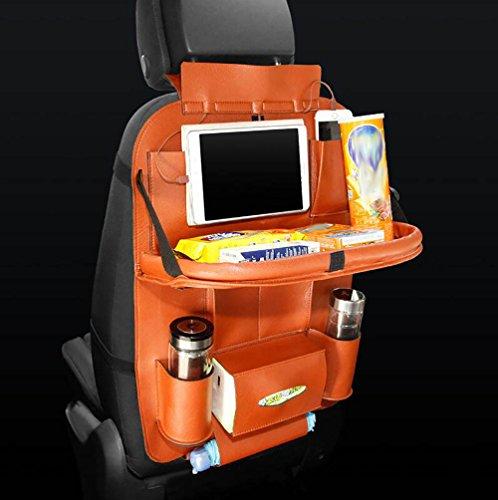 QXXZ lederen auto stoel achtertas multi-pocket organizer opvouwbare opbergtas houder met 3 soorten USB-oplader adapter