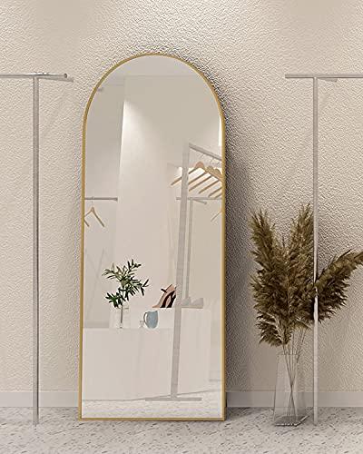 SHIGAKEN 65'×22' Arched Full Length Mirror, Floor Mirror, Standing Mirror, Full Body Mirror, Large Arched Wall Mirror, Wood Framed - Gold