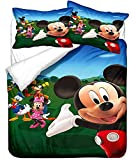 Mickey Minnie Mouse Bedding Duvet Cover Sets for Boys Girls, 3 Pcs 3D Cartoon Kids Toddler Full Size Bedding Set, Super Soft Microfiber Comforter Cover Bed Set with 2 Pillow Cases (M3,Full(79'x90'))
