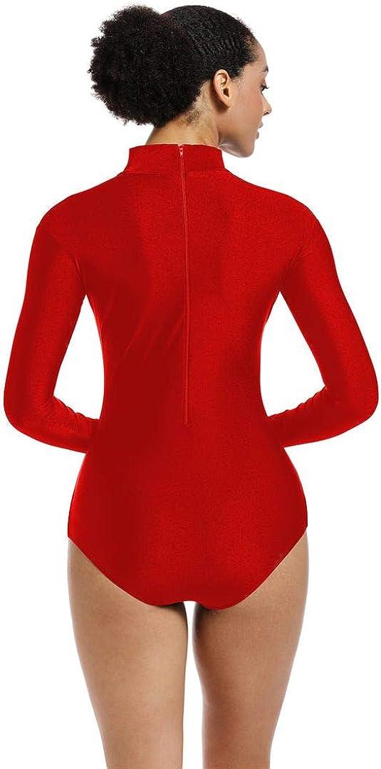 OVIGILY Adult Turtleneck Long Sleeve Dance Leotard for Women Bodysuit Costume