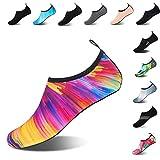 Mens Womens Water Shoes Barefoot Beach Pool Shoes Quick-Dry Aqua Yoga Socks for Surf Swim Water Sport (Colorful, 38/39EU)