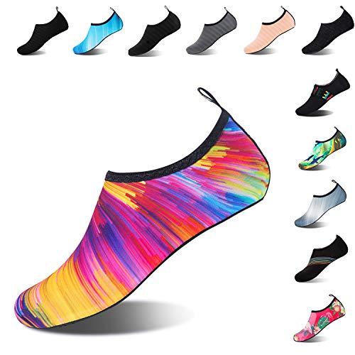Mens Womens Water Shoes Barefoot Beach Pool Shoes Quick-Dry Aqua Yoga Socks for Surf Swim Water Sport (Colorful, 40/41EU)