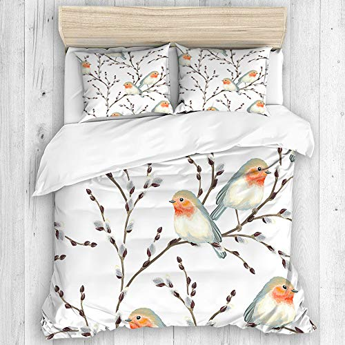 BEITUOLA Bedding - Duvet Cover Set,Willow branches and birds Robin,Zippered Microfibre Duvet Cover Set 200 X 200cm with 2 Pillowcase 50 X 80cm