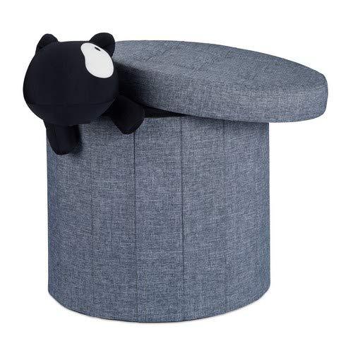 Relaxdays Sitzhocker mit Stauraum Größe L, Fußhocker mit Deckel, Polsterhocker zur Aufbewahrung, 43x45x45 cm, dunkelgrau