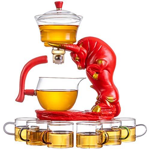 Juego de tetos de vidrio resistente al calor (600 ml Tetera de infusión + año de los ornamentos de buey + 6 tazas de té) -Oficial fiesta de bodas brithday regalo