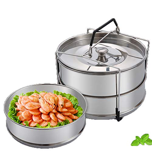 Stackable Steamer Insert Pans with Sling, Stackable Stainless Steel Pressure Cooker Steamer for 5, 6 and 8 Quart Pressure Cooker, Upgrade Interchangeable Lids