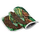 uytrgh - Juego de manopla y soporte para ollas, diseño geométrico, color verde y...