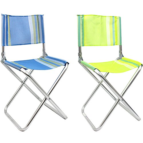 com-four® 2X klappbarer Regiestuhl aus leichtem Aluminium, in tollen Farben, ideal für Camping, Angeln, Outdoor etc. (02 Stück - Mix1)