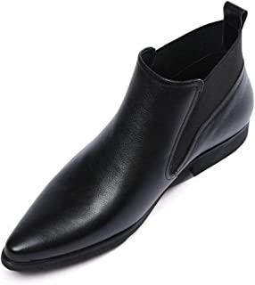 Men's Chelsea Boots Men Leather Casual Dress Boots Ankle Boots Formal Slip On Pointed Toe Shoes Black Brown