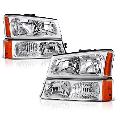 [4-Piece Set] Chrome Bezel Headlight + Front Parking Turn Signal Light Bumper Lamp Housing Assembly Replacement For 2003-2006 Chevy Avalanche Silverado 1500 2500 3500, Driver & Passenger Side
