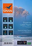 BLUE SWAN 200 Blatt A4 157g/qm, Superior Colour Laser Fotopapier Flyer Papier, Glossy,glaenzend, beidseitig bedruckbar, Fuer allen normalen Farblaserdruckern Kopierern (A4 157g)