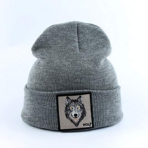 CHENGWJ Gebreide muts Winter Fashion Mens Beanie Dier Wolf borduursel Winter muts Gebreide mutsen voor mannen Streetwear Hip Hop Skullies Bonnet