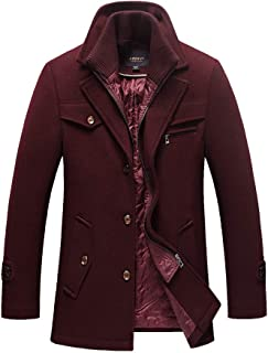 Men's Quilted Wool Coat Slim Fit Single Breasted Thick Walker Coat with Romveable Collar