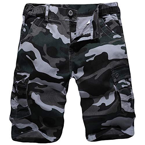 iCKER Herren Cargo Shorts Camouflage Freizeit männer Kurze Hose Lose Fit Baumwolle Bermuda Camo Shorts Sommer,Blau,36