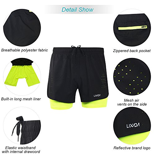 Lixada Mens 2-in-1 Running Shorts Quick Drying Breathable Active Training Exercise Jogging Cycling Shorts with Longer Liner (Green, S)