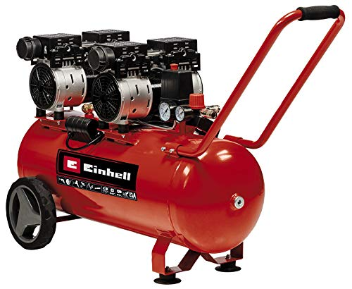 Einhell Compresor TE-AC 50 Silent (compresor susurrante, 1.500 W, máx. 8 bar, motor exento de aceite / servicio, tanque de 50 l, tornillo de drenaje, válvula de seguridad)