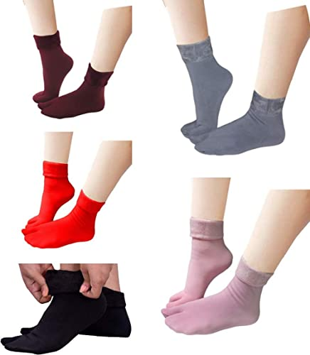 VT VIRTUE TRADERS Multicolour Velvet Winter Thermal Thumb socks for Women Girls (Pack of 5 Pairs)