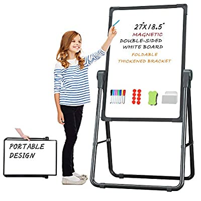 Pollenzic Stand White Board Double Sides Magnetic Dry Erase Easel White Board, 18.5x26 Inch, Portable Foldable with 1 Dry Eraser 20 Dry Erase Markers 8 Magnets Suit for Home Kids Office