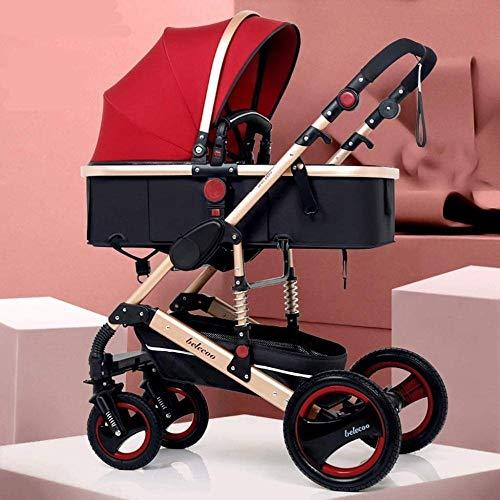 Landaus High View Poussette bébé, Poussette Buggy Compact, Portable Pram Transport Anti-Choc en Aluminium Poussette Fournitures pour bébé ( Color : Red )