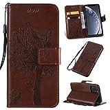 Ogmuk Étui portefeuille à rabat en cuir PU pour Samsung Galaxy A10/M10 Motif arbre et chat Marron