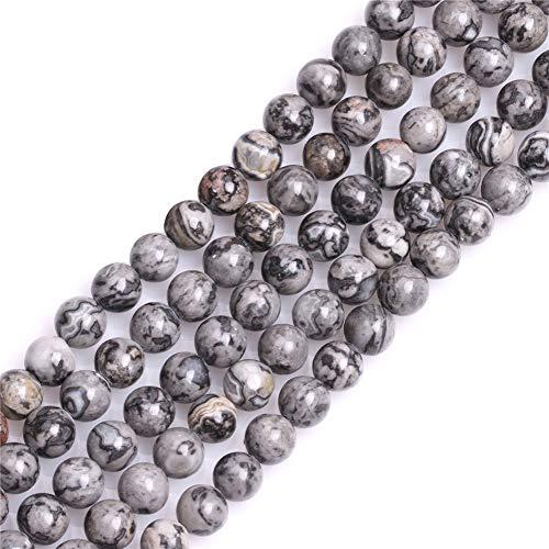 Piedras redondas y naturales de 6 mm de ágata gris plata, cuentas de piedras semipreciosas para bisutería, 38 cm, 6mm Gray, 6