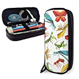 Lawenp Alta capacidad Paper Origami Insect Animal Wildlife High Capacity Leather Pencil Case, Pencil Pen Stationery Holder Large Storage Pouch Box Organizer, College Makeup Pen Student Stationery Ba
