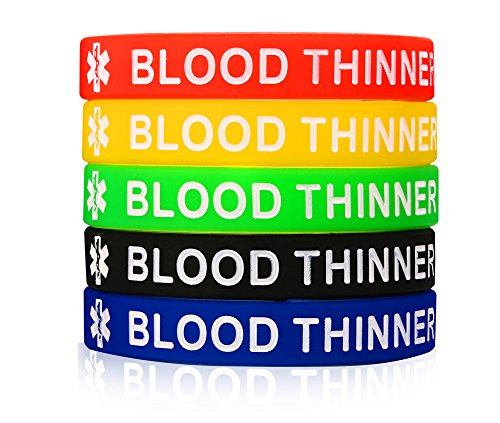 XUANPAI 5 Pack Rubber Silicone Sport Blood THINNER Medical Emergency Alert ID Bracelets Wristband for Men Women Kids