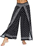 FLYCHEN Mujer Pantalones Anchos Pantalones divididos Casual de Verano Pants Pantalones Yoga Exótico Tailandia Yoga Baggy-Frijoles 040, S/M