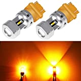 Phinlion 3157 3457 Amber LED Turn Signal Light Bulbs Super Bright 3156 3057 3757 4157 LED Bulb for Turn Signal Blinker and Parking Lights, Amber Yellow