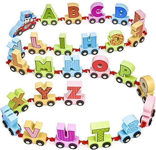 Tren Alfabeto de Madera, 27 Piezas, 200cm  Madera Natural, Colores Vibrantes, No Tóxico  Juego de Juguetes Educativos Aprendizaje Letras Alfabeto ABC, Regalo Cumpleaños Navidad para Bebés Niños.