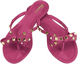 TENGYUFLY Womens Rivets Bowtie Flip Flops Jelly Thong Sandal Rubber Flat Summer Beach Rain Shoes Pink Size: 7