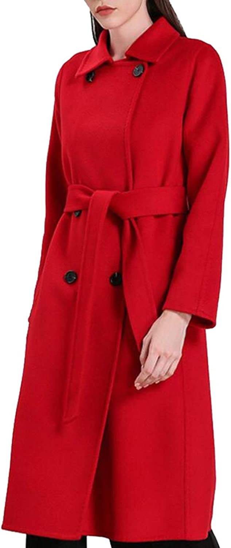 UNINUKOO Unko Women's Fashion DoubleBreasted Trench Coat WoolBlend Overcoat with Belt