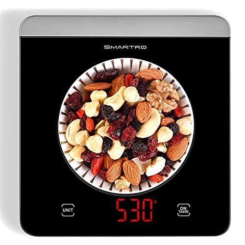 SMARTRO Food Scale, High Accurate Digital Kitchen Scale Weight Grams and Ounces for Cooking Baking, 1g/0.01oz Precise Graduation, Sleek Tempered Glass, Large Platform