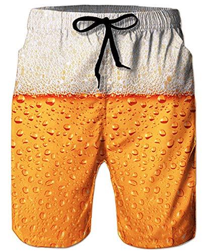 ALISISTER Bier Badehose Herren Männer Badeshorts 3D Lustig Druck Schnell Trocknend Strand Surf Board Shorts Schwimmhose Knielang S