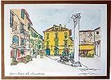 Lucca,Piazza della Colonna Mozza- Original Druck, erstellt vom Künstler Davide Pacini - Größe cm 29,7x21 cm, Material, A4-Druckpapier, 80g / m² - Hergestellt in Italien, Toskana, Lucca.
