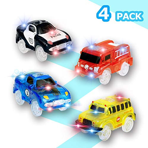 cars spielzeug 4 pack cars auto tracks Compatible with most Tracks, 5 LED Blinklichtern Magic Toys for most tracks ,auto für kinder elektrisches auto für kinder autorennbahn