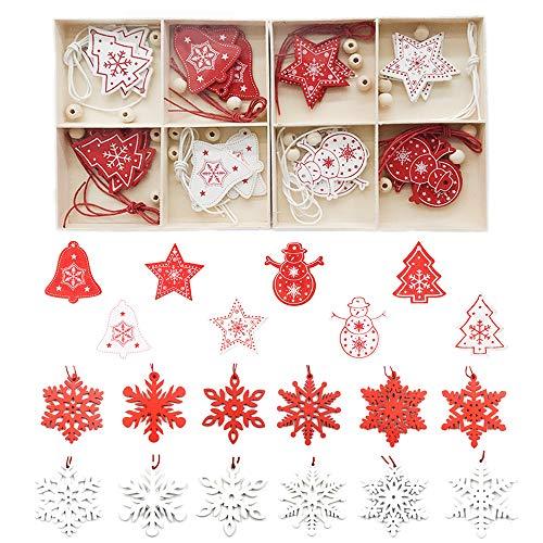 Zasiene Decoracion Arbol Navidad Madera 36 Piezas Adornos Navidad Madera Kit Colgante de árboles de Navidad Adornos con Caja de Almacenamiento de Madera