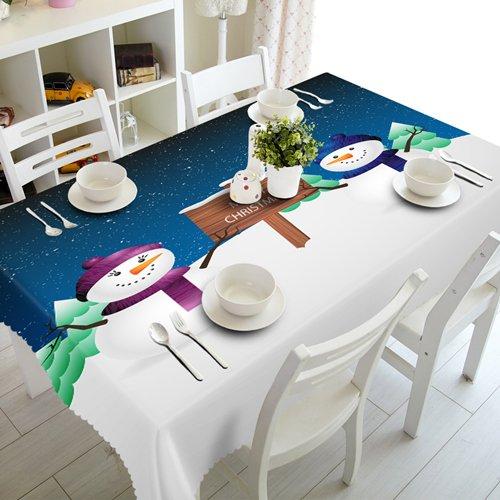 BLUELSS Anpassbare 3D-Tischdecke kreative Bonbon Schneemann vorhanden Muster wasserdicht Verdicken rechteckige und runde Hochzeit Tischdecke, EIN, 40 x 40 cm