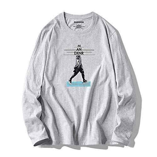 Camiseta de Manga Larga para Hombre, Ropa Suelta de algodón, Camisa de Fondo