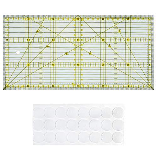 OFNMY Patchwork Lineal 30x15cm Transparentes Universal Lineal + Anti Rutsch Aufkleber mit Zentimeter und Winkel-Maßen