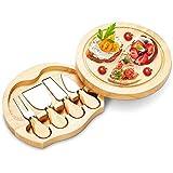 ZLDGYG Plato de Corte de Pizza de Queso de Tabla de Queso de Madera de Caucho con Cuatro Cuchillos de Queso Tabla de Queso de bambú