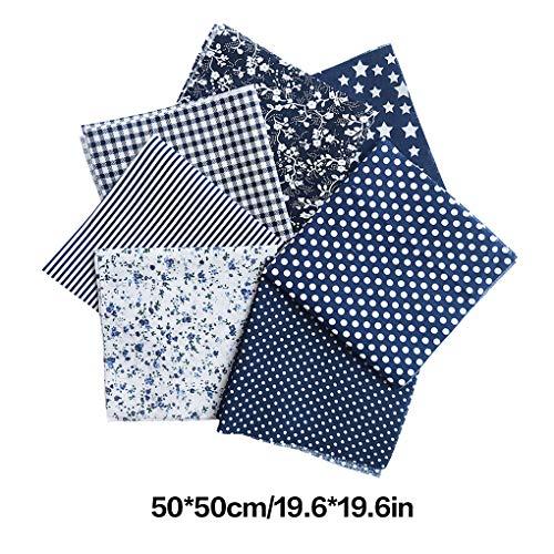 Stoffpakete Patchwork Stoffe 50x50cm Baumwolle Tuch 7 Stück DIY Handgefertigte Nähen Quilten Stoff Textil Baumwollgewebe Blau Serie