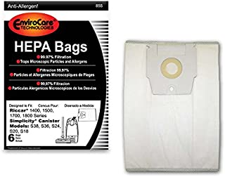 EnviroCare Replacement HEPA Vacuum Bags for Riccar 1400, 1500, 1700, 1800 Series and Simplicity S38, S36, S24, S20 and S18 Canisters 6 Pack