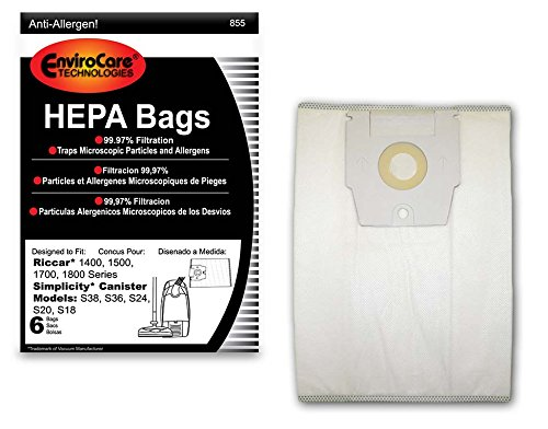 EnviroCare Replacement HEPA Filtration Vacuum Cleaner Dust Bags Made to fit Riccar 1400, 1500, 1700, 1800 Series and Simplicity S38, S36, S24, S20 and S18 Canisters 6 Pack