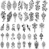40 hojas de tatuajes temporales de flores negras grandes y realistas para mujeres, boceto, flores de rosas, tatuajes falsos temporales para niñas, tatuajes de serpientes, maquillaje de arte corporal.