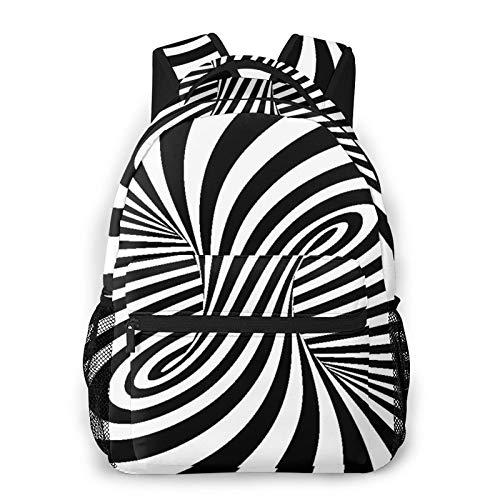 MEJX Mochila Paquete de Almacenamiento,Una óptica espiral en blanco y negro,Casual Bolsa de Estudiantes de la Escuela Mochila Portátil de Viaje