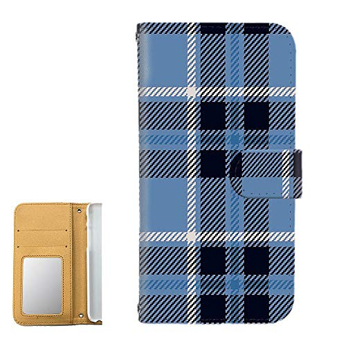 [FFANY] LG Q Stylus 801LG PU手帳型 ミラータイプ スマホケース [ガーリー・ブルー] チェック柄 格子柄 シンプル エルジー キュー スタイル スマホカバー 携帯カバー check 190402m